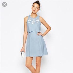 NWT ASOS Blue Chiffon Dress w Floral embellished